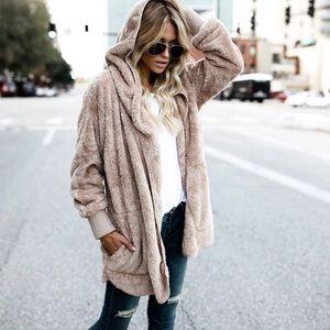 Jackets & Blazers - NEW Cozy Teddy Bear Furry Jacket Coat Hoodie S M
